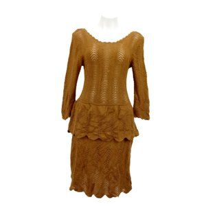 Anthropologie Knitted Women L Dress Brown 06406